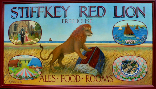 Stiffkey Red Lion pub sign