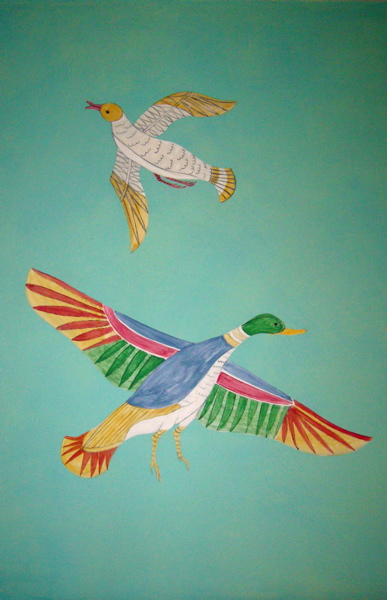 Egyptian birds wall painting