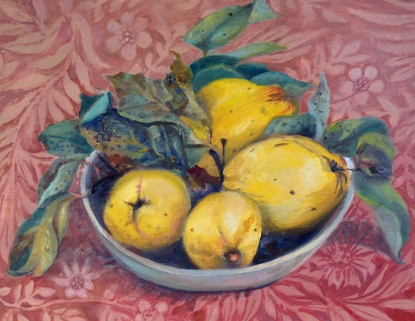 Quinces on William Morris print