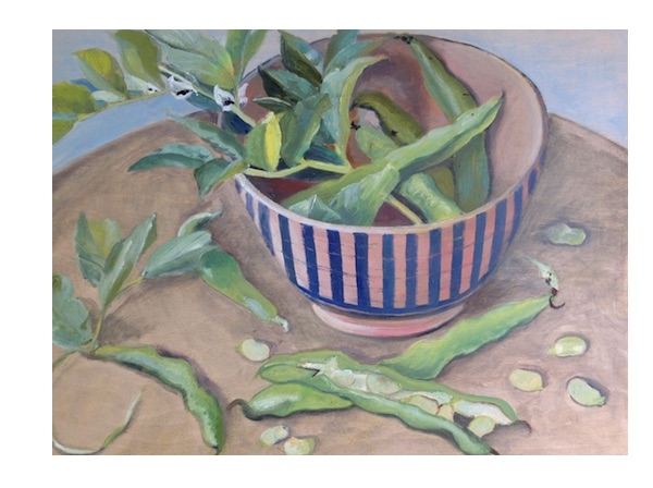 Broad beans in a striped bowl