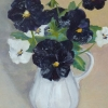 Black pansies - white jug